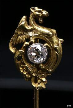 Art Nouveau gold and diamond pin,ca 1900
