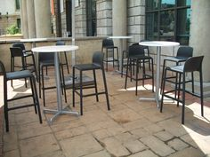This is our Anthracite Grey Faro h75 Barstool and the Silver Calice Alu Bar base.