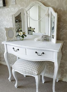 Dressing table mirror stool shabby french style vintage chic white bedroom set in Home, Furniture & DIY, Furniture, Dressing Tables | eBay