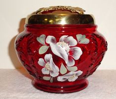 This is a beautiful Fenton Ruby Hand Painted Covered Box. The artist has signed the underside and the Fenton logo is embossed. Here's your opportunity to own a piece of art glass history that will never be reproduced. Red Glass, Milk Glass, Glass Art, Fenton Glassware, Antique Glassware, Pickle Jars, Indiana Glass, Carnival Glass, Vases