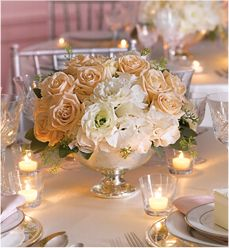 love the simple elegance.....maybe gold bowl instead using pale pink and wisteria colored roses to offset a possible cream pink and lace table setting?