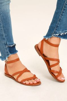 1ff57807ed94 Your next vacay needs the Sonata Tan Ankle Strap Flat Sandals! Sleek straps  of vegan