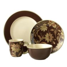Jaclyn Smith Turkish Floral Brown Dinnerware Set  sc 1 st  Pinterest & Chestnut 16-pc. Southern Gathering Dinnerware Set by Paula Deen by ...