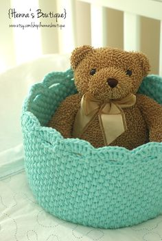 Crochet Storage: Lace Edge Basket in Robin Egg