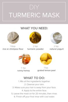Mix raw honey, turmeric powder, yogurt, rice flour and lemon peel together to make a DIY turmeric face mask to combat acne and dark spots. Follow this simple recipe to make your own mask right at home.