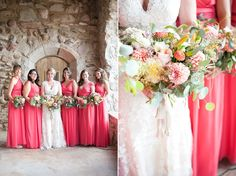 Champagne sheer back lack wedding dress | Cherokee Ranch & Castle | René Tate Photography | Coral bridesmaid dresses