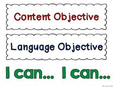 Writing Content and Language Objectives #SIOP #ELL | ELL/ ESL ...