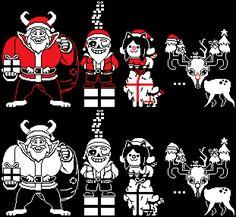 [Sprite Art] Santa Asgore, Sans and more.
