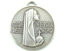 Vintage French Virgin Mary - Our Lady of Lourdes Catholic Medal - Religious Charm  by LuxMeaChristus
