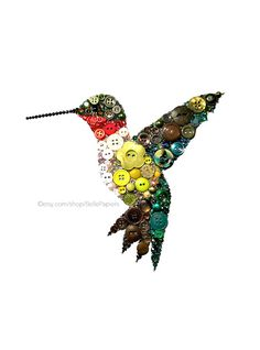 Button Art Hummingbird Ruby Throated Hummingbird by BellePapiers