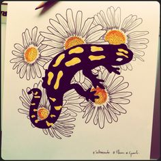 #Salamandre #Fleurs #Fred_Naud_Tattoo [:-{