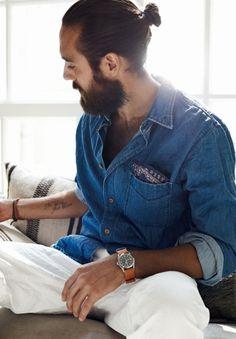 denim shirt, pocket bandana