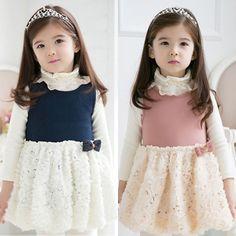 2013 autumn korean children children baby girls lace rose stitching vest dress child 5765 only $10.14USD a Piece