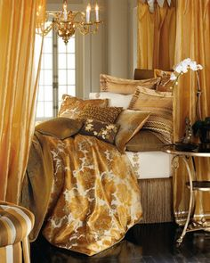 Ana Rosa, a great example of layering pattern and texture giving this gold bedroom a cozy and mysterious feel and making it a beautiful room.