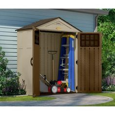 suncast everett 6 ft 8 in x 5 ft 6 in resin storage shed home sheds and the ojays