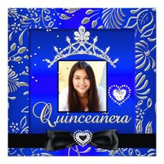 Quinceanera 15th Party Blue Silver Damask Photo 5.25x5.25 Square Paper Invitation Card