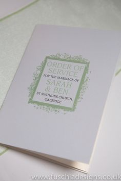 Wedding stationery. Order of service of ceremony in peppermint green Picture Frame design.  www.fuschiadesigns.co.uk