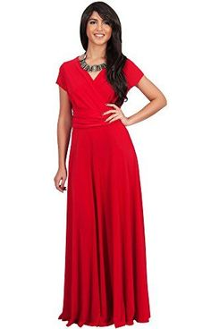 5ba61165e626 KOH KOH Womens Long Sexy Cap Short Sleeve Vneck Flowy Cocktail Gown Maxi  Dress Color Red