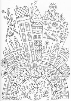 trendy house drawing ideas coloring pages Coloring Book Pages, Printable Coloring Pages, Coloring Sheets, House Quilts, House Drawing, City Drawing, Drawing Art, Doodle Art, Embroidery Patterns