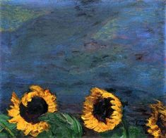 Emil Nolde (German, 1867-1956): Blue Sky and Sunflowers, 1928.  Oil on panel. © Emil Nolde. This artwork or photograph is posted in accordance with fair use principles.  #IRequireArt @irequireart #art #german #emilnolde  IRequireArt.com