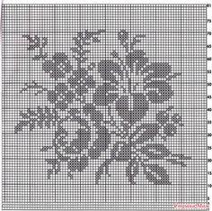 Kira scheme crochet: Three images of flowers Tapestry Crochet Patterns, Crochet Pillow Pattern, Crochet Cushions, Crochet Motif, Crochet Hooks, Crochet Blouse, Crochet Scarves, Cross Stitch Flowers, Cross Stitch Patterns