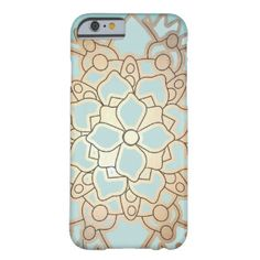 Blue and Faux Gold Leaf Lotus Flower Barely There iPhone 6 Case