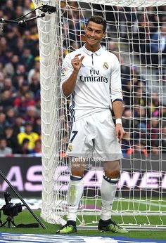 Cristiano Ronaldo of Real Madrid reacts after missing a chance during the La Liga match between FC Barcelona and Real Madrid CF at Camp Nou on December 3, 2016 in Barcelona, Spain.