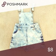 White washed denim shirt overalls Worn once, perfect condition Blue Spice Shorts Jean Shorts