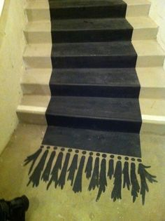 painted rug/runner on stairs