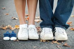 my husband and I did this with our chucks     to announce our first baby. :)
