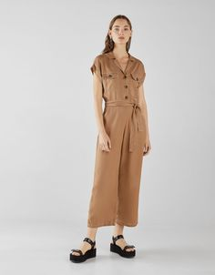 Long tencel jumpsuit - Bershka  fashion  product  accesories  cool  trend   trendy  young  ss18  new  boy  moda  accesorios  outfit  inspiration  ideas f9bb2ed97be