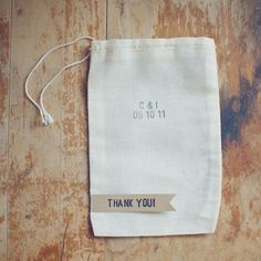 50 Thank You Medium Muslin Bag Wedding Favors Hand-Stamped with Custom Initials and Date