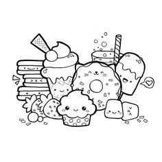 Kawaii doodle food coloring page. ★ Download PDF at https://kawaiidrawings.com/kawaii-food-doodle-coloring-page/ ★ #kawaii #cute #drawing #coloring #coloringpage