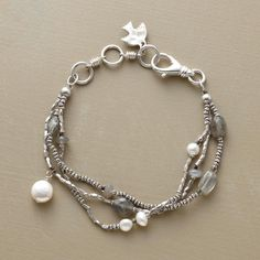 """MOONLIGHT SONATA BRACELET -- Handcrafted tri-strand bracelet is a lyrical combination of moonstone, labradorite, cultured freshwater pearls and coin pearls set against faceted sterling silver beads. Lobster clasp. Exclusive. 7-1/2""""L."""