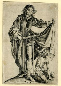 Martin Schongauer--St Martin dividing his cloak with a beggar.  Nineteenth century Engraving