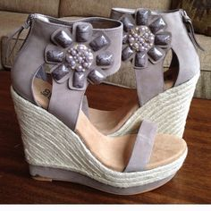 Not too Coy wedge sandals Brand new/never worn grey espadrille wedge sandals with flower embellishment Not too coy Shoes Sandals