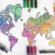 Colorful world map - mandalas art in 2019 art, sharpie drawings, art sketch Doodle Art Drawing, Mandala Drawing, Cool Art Drawings, Art Drawings Sketches, Mandala Tattoo Design, Simple Drawings, Drawing Drawing, Colorful Drawings, Pencil Drawings