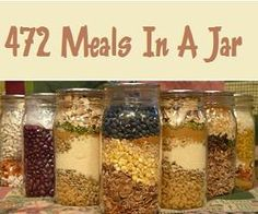 Simply add all the ingredients to a jar and label, and then you simply need to add any fresh items and cook! Easy meals that will save you time & money! In this listing of 472 Meals In A Jar you will find everything from soups and casseroles to breads and muffins, and everything in between!  3 Grain Muffin Mix, 7-Up Biscuits Mix, 9 Bean Soup Mix,  A-B-C Muffin Base Mix, Alfredo Noodles Mix etc. @ http://www.savebiglivebetter.com/2013/04/472-easy-meals-in-a-jar-recipes.html