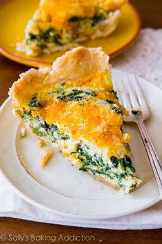 This super cheesy spinach quiche is baked in my favorite homemade pie crust. Impress all your brunch guests with this recipe! @Sally [Sally's Baking Addiction]