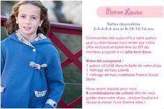 Patron Madame Maman manteau Louise du 2 au 14 ans - patron vendu seul ou en kit sur www.madamemaman.fr Couture, Madame, Graphic Sweatshirt, Kit, Sweatshirts, Sweaters, Fashion, 14 Year Old, Mantle