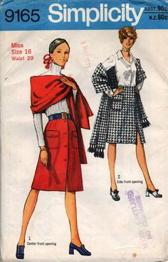94883fcfaee7 Simplicity 9165 Womens Button Front Skirt   Stole 70s Vintage Sewing Pattern  Size 16 UNCUT Factory Folds
