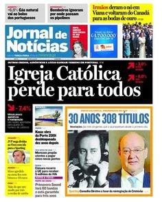 Capa da edição desta terça-feira, 17 de abril. Destaque para os 30 anos de Pinto da Costa à frente do FC Porto e para os números da Igreja Católica.