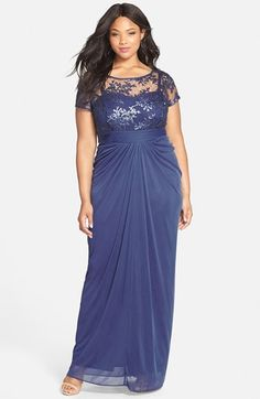 Adrianna Papell Sequin Lace Bodice Gown (Plus Size)