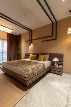 This being a row house interior created with Lavish mix of textures- an approach that is to become the norm of the house. Indian Bedroom Design, Indian Bedroom Decor, Bedroom Furniture Design, Home Room Design, Modern Bedroom Design, Master Bedroom Design, Living Room Designs, Modern Bed Designs, Modern Beds