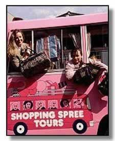 Happy shoppers on the Pink Bus.