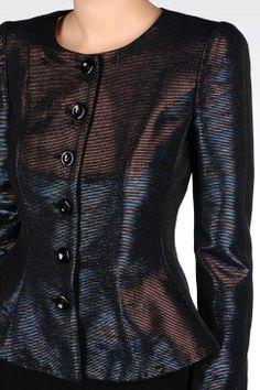 Dinner Jacket Donna Armani Collezioni - GIACCA PEPLO EFFETTO LAMÉ Armani Collezioni Official Online Store