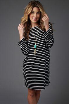 Black & White Long Sleeve Striped Piko Dress