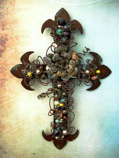 Hand-made Rusty Metal Wall Cross with Patina Metal Flower and Picasso Beads