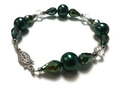 Emerald Green Liver Cancer Awareness Bracelet w/ Silver Tone Clasp and Spacer Beads, Glass Pearls, Clear Faceted Crystals & Emerald Crystals - pinned by pin4etsy.com