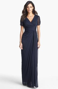 Adrianna Papell Draped Mesh Gown.